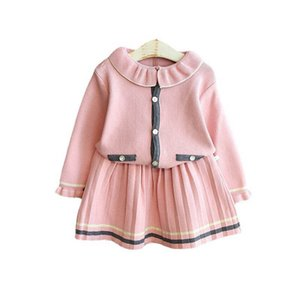 Girls Sweater Sets Kids Clothing Baby Clothes Outfits Autumn Winter Knitting Patterns Cardigan Coat Pleated Skirts Children Suits Princess 2Pcs B8361