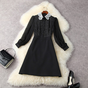 2021 Spring Long Sleeve Peter Pan Neck Green   Black Lace Panelled Buttons Knee-Length Dress Elegant Casual Dresses LF2511872