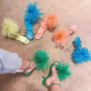 women high heel dress shoes feather dot sandals heels Fur shoe fashion ladies mesh square toe sandal designer woman office party heeled with box