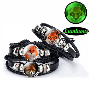 Luminous Red Black Leather Woven Bracelet Animal Glass Cabochon Jewelry Bangle Men Women Fashion Glowing Bracelet Gifts