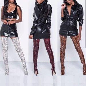 Бедра высокие ботинки сексуальные над сапогами на коленях для женской обуви змеина заостренный носящий носок 11 см тонкие высокие каблуки длинные ботинки BotteNe Femme