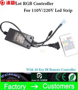 2 pçs / lote Prático 20key infravermelho RGB de alta tensão IR controlador remoto para 220V / 110V 3528/5050 RGB LED Luz de tira