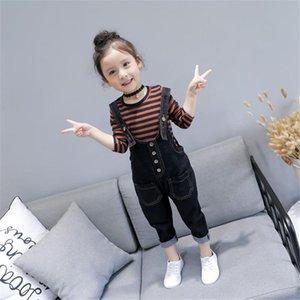 Осенние дети девушки одежда детский ребенок полосатая футболка с длинными рукавами + кнопка джинсовая нагрудная мода джинсы брюки детская одежда Set30