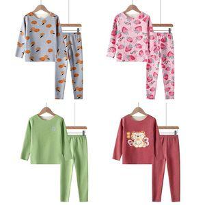 Pajamas For 4 6 8 10 12 Yrs Children Autumn Long Sleeved Set Clothing Boys Girls Seamless Velvet Thermal Underwear 2pcs Pyjamas