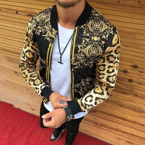 Leopard Printed Gold Luxury Jackets Desinger Mens Stylish Trendy Bomber Mens Club Outfits Fashion Baseball Jackets Velvet Coats
