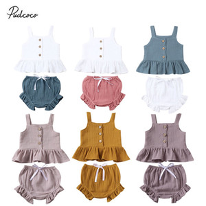 2020 Kids Cotton Linen 2Pcs 0-5Y Toddler Baby Girl Clothes Sets Solid Vest Crop Tops Ruffle Short Pants Summer Cool Outfits C0223
