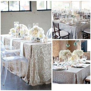 Sparkly Glitter Pailletten-Tisch-Tuch-Abdeckung Rechteck-Tischdecke für Hochzeitsdekor