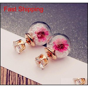 S35 Hot Europe Fashion Jewelry Cute Glass Ball Rhinestone Flower Stud Earrings Women's qylJCm luckyhat