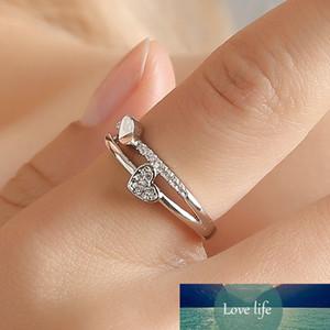 New Korean Creative Love Heart Ring Temperament Female Heart-shaped Rhinestones Opening Adjustable Rings Women