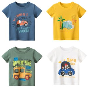 Kids Boys Clothes Cotton Short Sleeve T-Shirts Car Bus Cartoon Children Clothes 2-9 Years Kids Summer Clothing