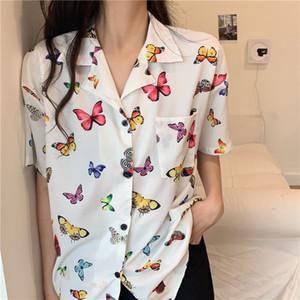 Palm 2021 Spring   Summer New Butterfly Print Cotton Denim Short Sleeve Shirt Blouse Net Red