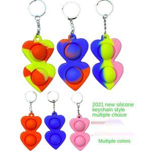 50pcs Simple Dimple Keychain Fidget Sensory Push Pop Bubble Toy Pendants Squeeze Silicone Bubbles Stree Relief Finger Toy For Adult GG3507