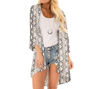 Plus Size Kimono Woman Snake Printed Casual Blouse Kimono Cardigan Women Female Beach Bikini Cover Cardigan Summer 2021