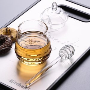 Luxury Transparent Glass Honey Jar With Lid And Dipper Kitchen Gadget Dipper Stick Syrup Dispenser Server Keuken Accesoires