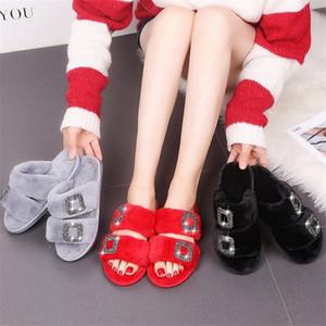 winter slippers fur slides shoes woman warm furry footwear flat cute outdoorwinter slippers shoes woman fur slides warm cute 81Sy#