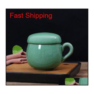 Chinese Porcelain Tea Cup With Lid And Infuser Strainer Teacup Celadon Teapot Mug Gift Drinkware Trave jllQzz allguy