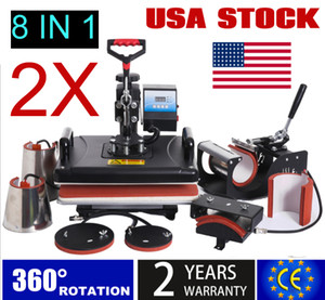 USA stock 2 pieces 8 in 1 T-Shirt Heat Press Machine Digital Transfer Sublimation Mug Hat Plate Cap Etc With 9 Kinds Gifts