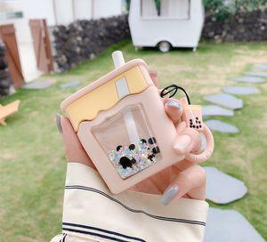 Cute Liquid quicksand glitter Bubble Milk tea cup Wireless Bluetooth Earphone Case for Airpods pro 2 1 3D Silicone headset Cover