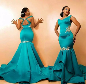 2021 Nigerian Designer Mermaid Prom Dresses Cheap Long Teal Satin Gold Lace Ruched Mother Formal Evening Dresses Beaded Sequins Keyhole Back
