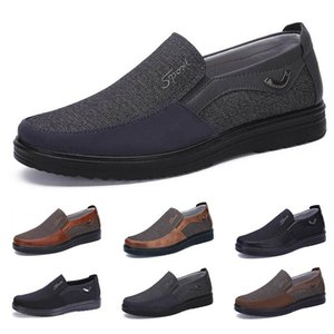 low Fashion Business style mens shoes comfortable breathable black brown dark navy soft flats bottoms men casual for Party 38-44