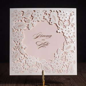 Wishmade 1pcs Laser Cut Wedding Invitations Card With White Square Hollow Flora For Engagement Invites,Customizable