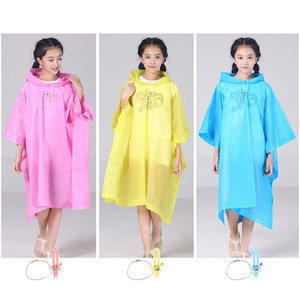 Reusable Children Raincoat Cartoon Transparent Waterproof Rainproof Rain Coat Kids Hooded Cloak Type Poncho Student Rainsuit RN8130