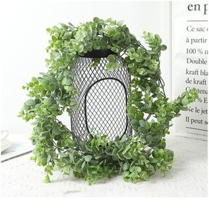 Artificial Rattan With Flowers Fake Plastic Eucalyptus Money Leaves Wedding Christmas Wreath Decorative Home Bathroom De jllqoi