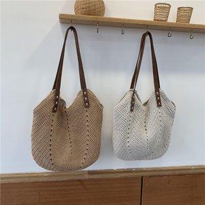 casual straw women shoulder bags wicker woven ladies handbags handmade summer beach rattan bag female messenger bag large totes C0225