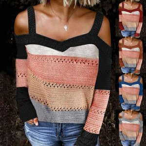 Женская мода Новая осень зима вязаный свитер с длинными рукавами сексуальный свободный офис дамы повседневный без бретелек свитер