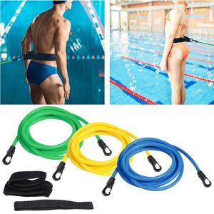 Adjustable Swim Training Resistance Elastic Belt Adult Kids Swimming Exerciser Leash Mesh Pocket Safety Rope Swimming Pool Parts