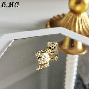 925 Sterling Silver Geometric Earrings for Women Girls Handmade Diamonds Stripe Stud Earrings18k Golden Vintage Ear Jewelry