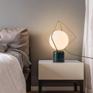 New Led Table Decoration Lamp for Bedroom Bedside Study Reading Light Luxury Green Marble Glass Ball Desk Light Indoor Fixtures