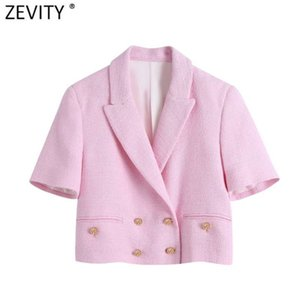 Zevity Women Sweet Double Breasted Notched Collar Pink Tweed Woolen Short Blazer Coat Vintage Female Outerwear Chic Tops CT681 210929
