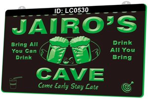 LC0530 Your Names Cave Come Early Stay Late Beer Bar Light Sign 3D Engraving