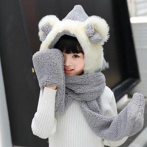 Scarves & Wraps Cute Bear Children Hats With Ears Cartoon Plush Warm Girls Cap Long Hat Earmuff Kid Scarf Gloves,Christmas Kids