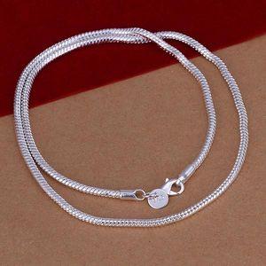 . Silber Farbe Halsketten und Armbänder Herrenabschnitt 3mm Schlangenknochenkette Zweiteiliger Satz Geometrische Einfache Silberfarbsatz S076