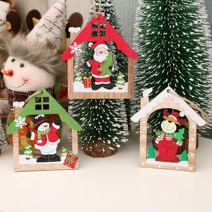 Creative Wooden laser hollowed out Christmas pendant wooden Xmas tree Pentant snowman Santa Claus Pendant Christmas decorations LLS238