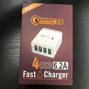 4 Porta rápida 3.0 carregador USB UE UN UK Wall para iPhone Samsung Tablet Adaptador de Telefone Móvel Rápido Carregamento