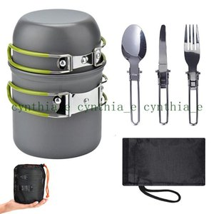 Outdoor supplies hot sale camping cookware set, easy to carry for 1-2 people, picnic stove cooker set with color box