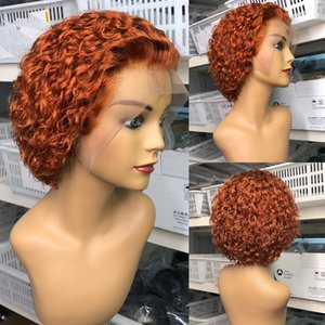 Pixie Cut Wig For Women Orange Curly Pixie Wig Human Hair Pre Plucked Bleached Knots Short Bob 13x4 Lace Front Wig 180% Remy