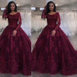 2021 Burgundy Ball Gown Quinceanera Dresses Long Sleeves Scoop Neck Lace Appliques Beads Sweet 16 Party Formal Prom Dresses Evening Gowns