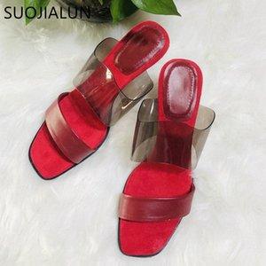 Suojialun 2020 estate tacchi alti sottili tacchi alti donne slipper in PVC trasparente scivoli da donna sexy vestito rosso vestito slides scarpe flip flop 61jq #