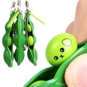 New Infinite Squeeze Edamame Bean Pea Expression Chain Key Pendant Ornament Stress Relieve Decompression Toys antistress XY307