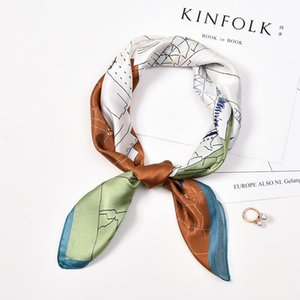 100% Real Silk Neck Scarf For Women Print Silk Square Scarf Neckerchief Fashion Hair Bufanda Cartoon Foulard Femme 65x65cm