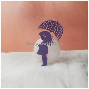 Painting Supplies The Scene Of A Little Girl With An Umbrella Metal Cutting Dies For Scrapbooking Cardmaking Embossing Paper DIY 2021