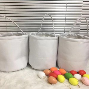 2021 Personalized Sublimation Easter Basket White Blank Easter Egg Bucket Child Candy Tote Handbag Creative Party Gift