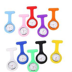 Рождественский подарок медсестра Медицинские часы Силиконовые зажима Карманные часы Мода медсестра Брошь FOB Туника Крышка Доктор кремниевые кварцевые часы