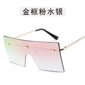 2021 새로운 뜨거운 판매 패션 디자이너 패션 큰 프레임 선글라스 성격 바다 조각 금속 선글라스 트렌드 스트리트 슈팅 레트로 성걸이