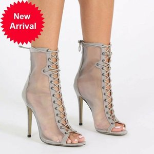 Femmes Mesdames Nouvelle Mode Peep Toe Mesh Dentelle Haut Haute Talon Bottines Bottines Chaussures Xun