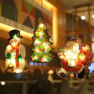 Luzes Decoração de Natal Luzes Santa Claus Snowman Elk Shape Window Copo de Sucção Luzes